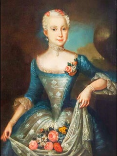 18thc Oil Portrait of a Swedish Society Lady Attributed To Ulrika Fredrick Pasch