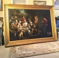 Huge 18thc Genre Oil Painting Of Bandits In A Forest Mainsforth County Durham