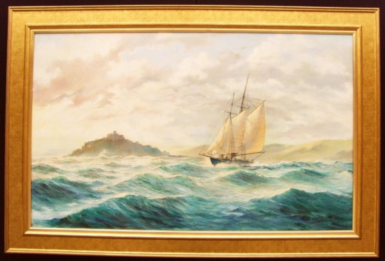 Huge Seascape St.Michaels Mount  - Modern Painting by Kenneth Carter