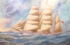 Norwegian Wooden Barque Sailing Vessel Built By B.Balchen Marine Oil Painting