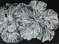 Hibiscus - XXI century, Linocut, Flower, Figurative Art, Black and white