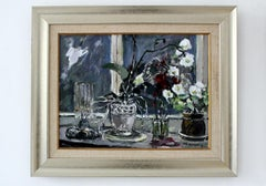 Still Life with an orchid- Oil Paintings, Figurative, Post-Impressionist