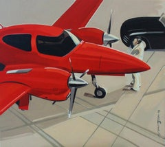 Red plane - XXI century, Oil figurative painting, Avionette, Red colour