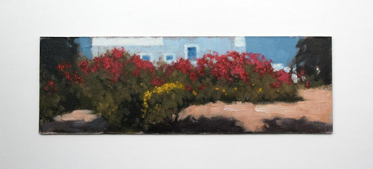 Greek garden - XXI century, Oil painting, Landscape, Flowers, A view - Painting by Andrzej Kacperek