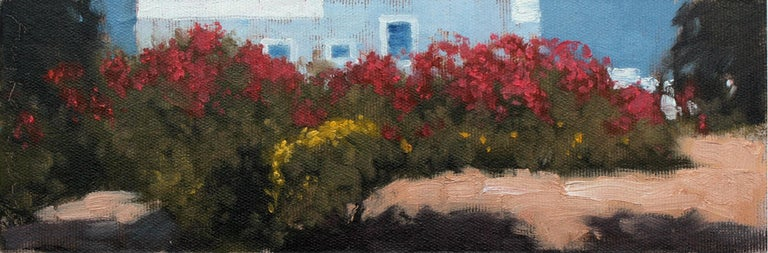 Greek garden - XXI century, Oil painting, Landscape, Flowers, A view - Other Art Style Painting by Andrzej Kacperek