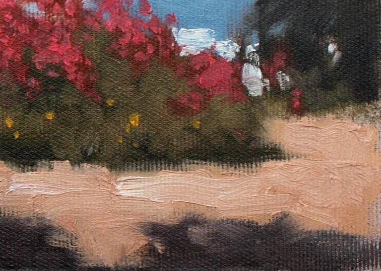 Greek garden - XXI century, Oil painting, Landscape, Flowers, A view - Black Landscape Painting by Andrzej Kacperek