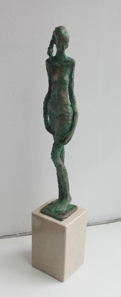 Woman - XXI century, Figurative sculpture, Bronze and marble, Nude