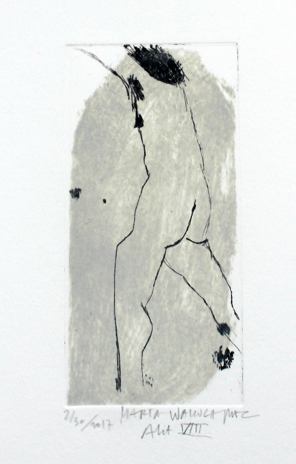 Nude VIII - XXI Century, Contemporary Figurative Drypoint Etching Print