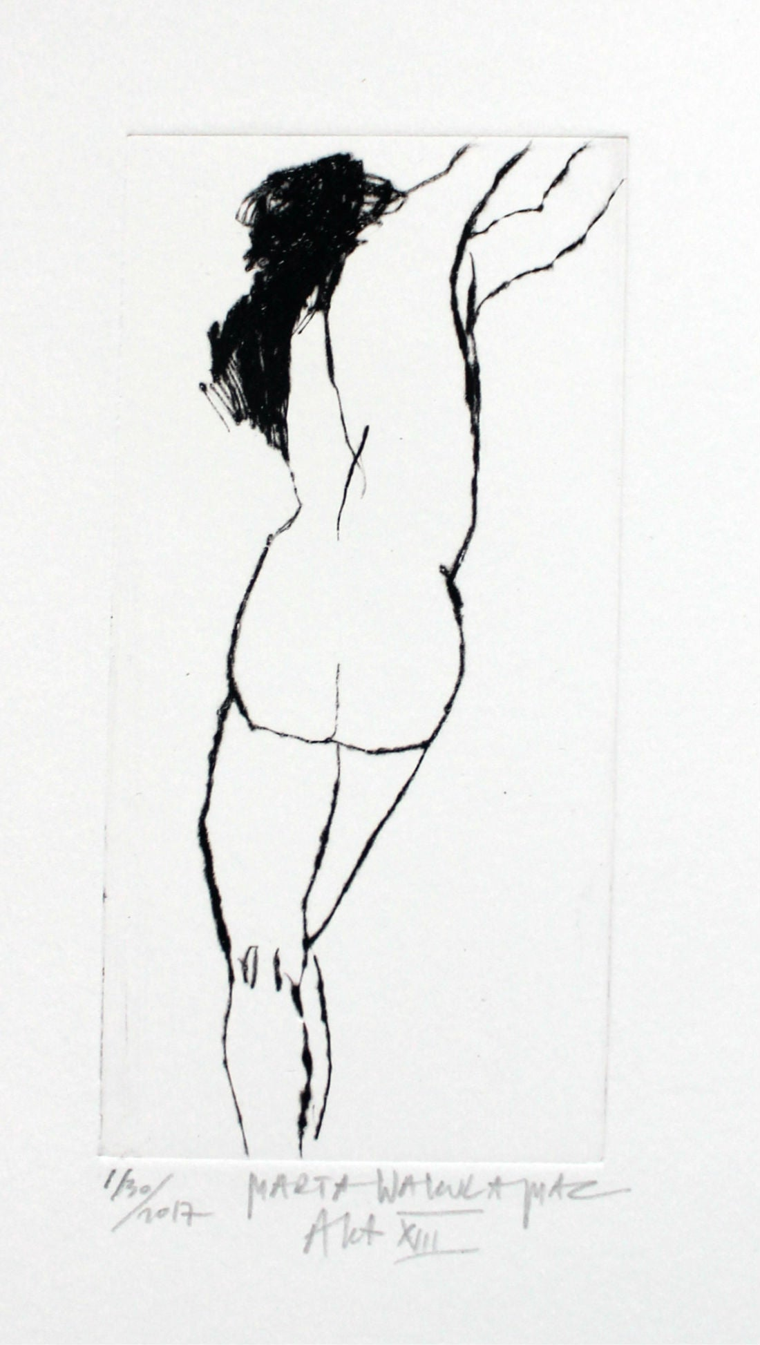 Nude XIII - XXI Century, Contemporary Figurative Drypoint Etching Print