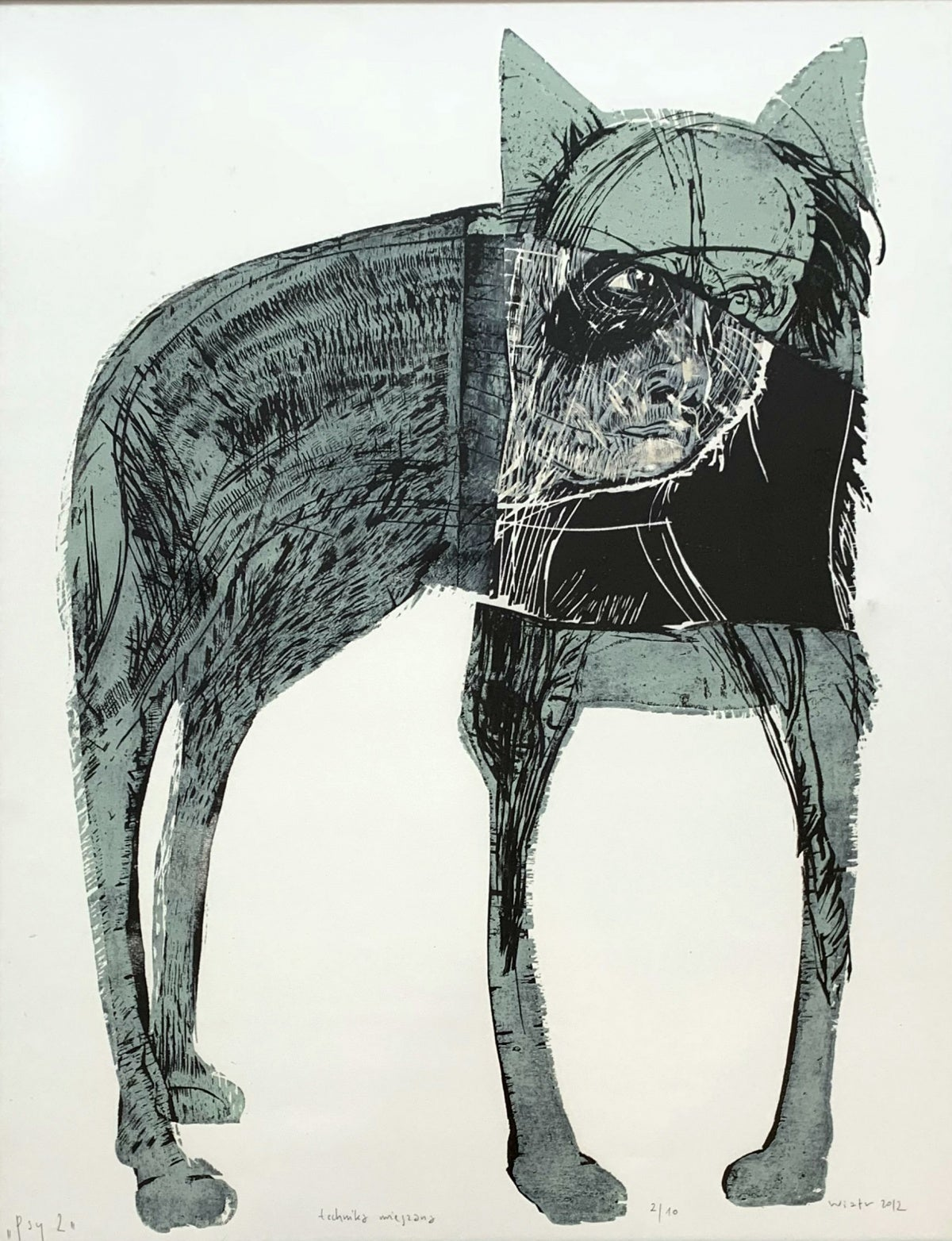 Dogs - XXI Century, Contemporary Woodcut on Paper