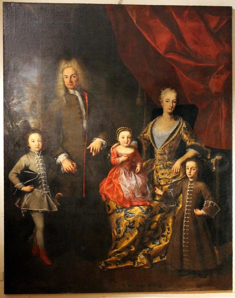 18th Century Oil on Canvas Painting Portrait of the Italian Noble Family Zanardi