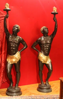 Life-Size Art Deco Burnished and Gilt Bronze Nubian Blackamoor Figures Statues