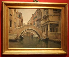 View of Canal in Venice Landscape with Architectures Oil on Canvas Painting