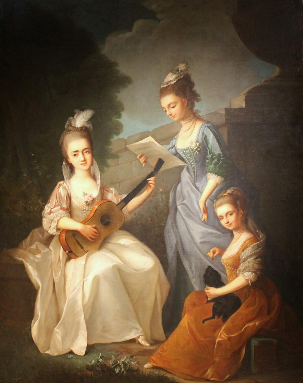 Italian Oil on Canvas Painting Three Young Ladies Portrait in a Garden Landscape