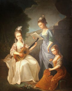 Oil on Canvas Painting Three Young Ladies Portrait in a Garden Landscape