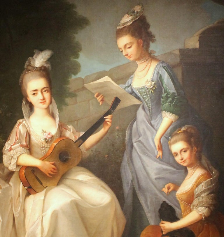 Oil on Canvas Painting Three Young Ladies Portrait in a Garden Landscape - Black Portrait Painting by Violante Beatrice Siries Cerroti