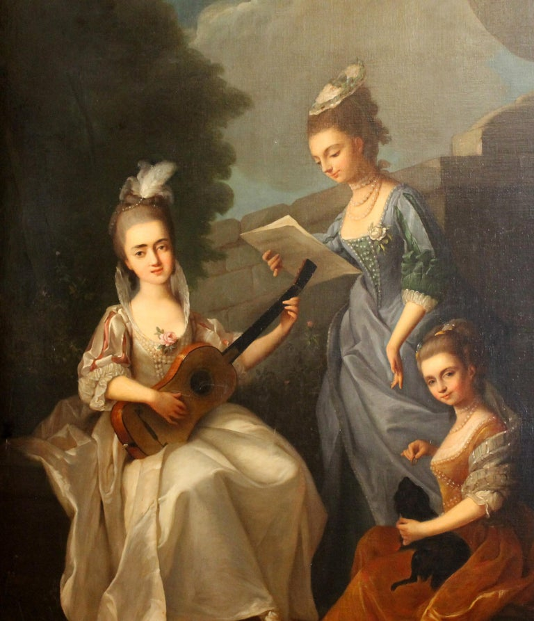 Italian Oil on Canvas Painting Three Young Ladies Portrait in a Garden Landscape For Sale 8