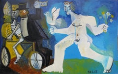 Victorious peace, Raymond Debiève, unique piece, oil paint on wood
