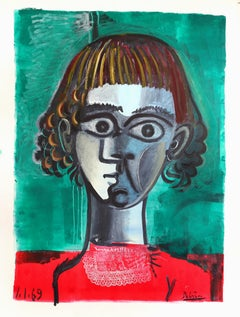 Portrait on green background, unique piece, printer's and oil paint on paper