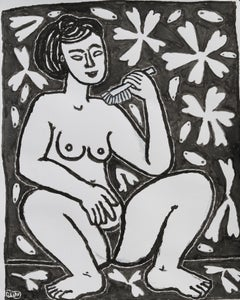 Nude with a brush, Michel Debiève, 2003, unique piece in Indian Ink, unframed