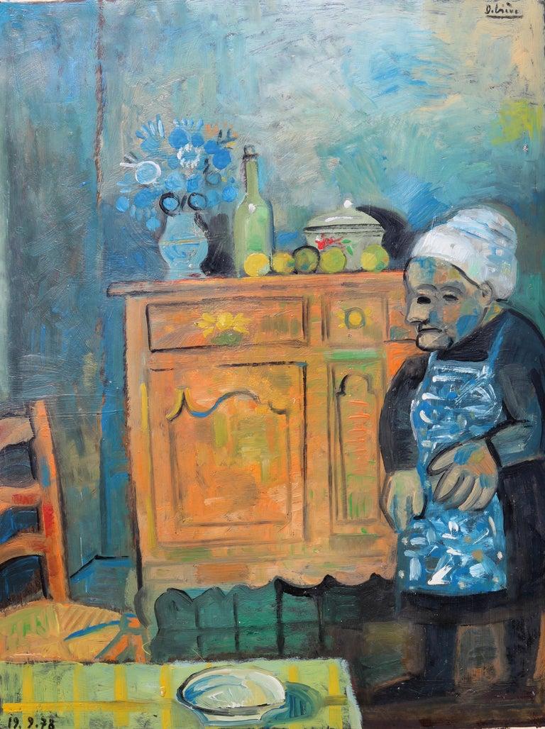Raymond Debieve Portrait Painting - The buffet, unique piece, oil paint on paper, 1978