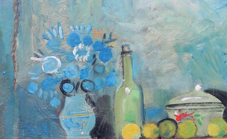 The buffet, unique piece, oil paint on paper, 1978 - Blue Portrait Painting by Raymond Debieve
