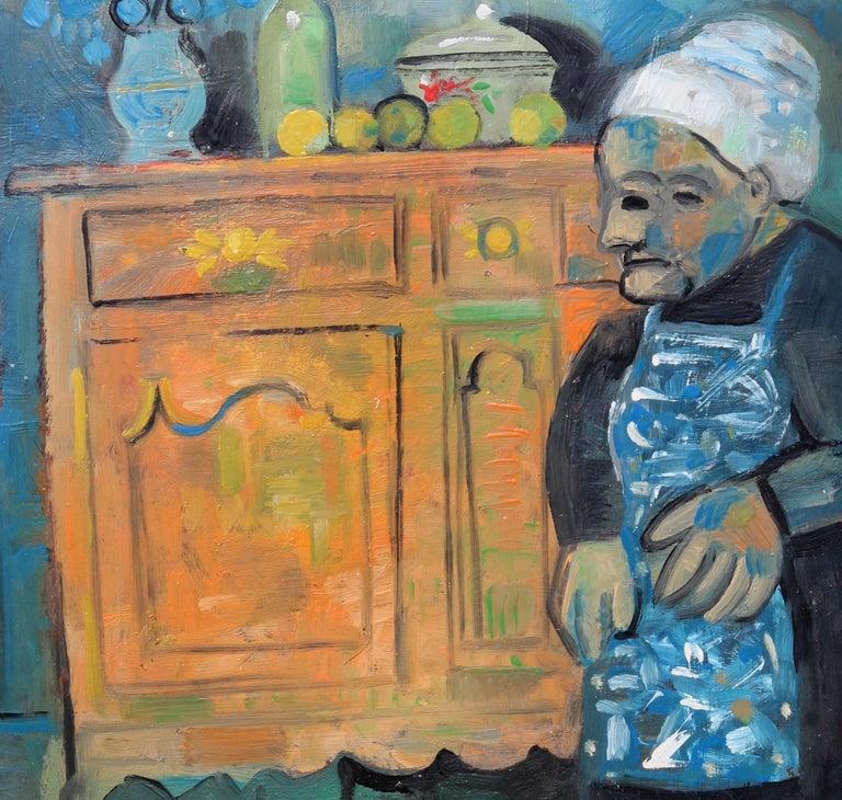 The buffet, unique piece, oil paint on paper, 1978 For Sale 1