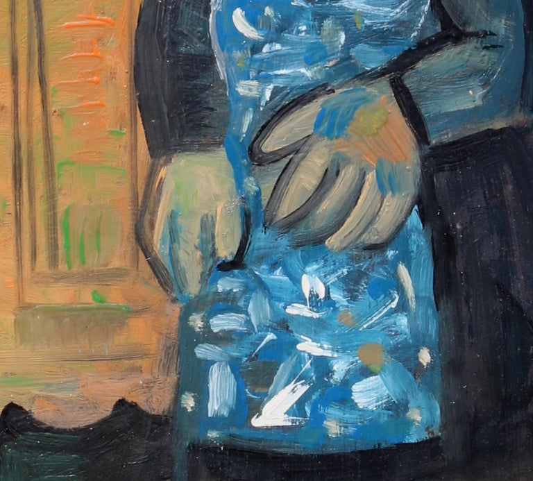 The buffet, unique piece, oil paint on paper, 1978 For Sale 2