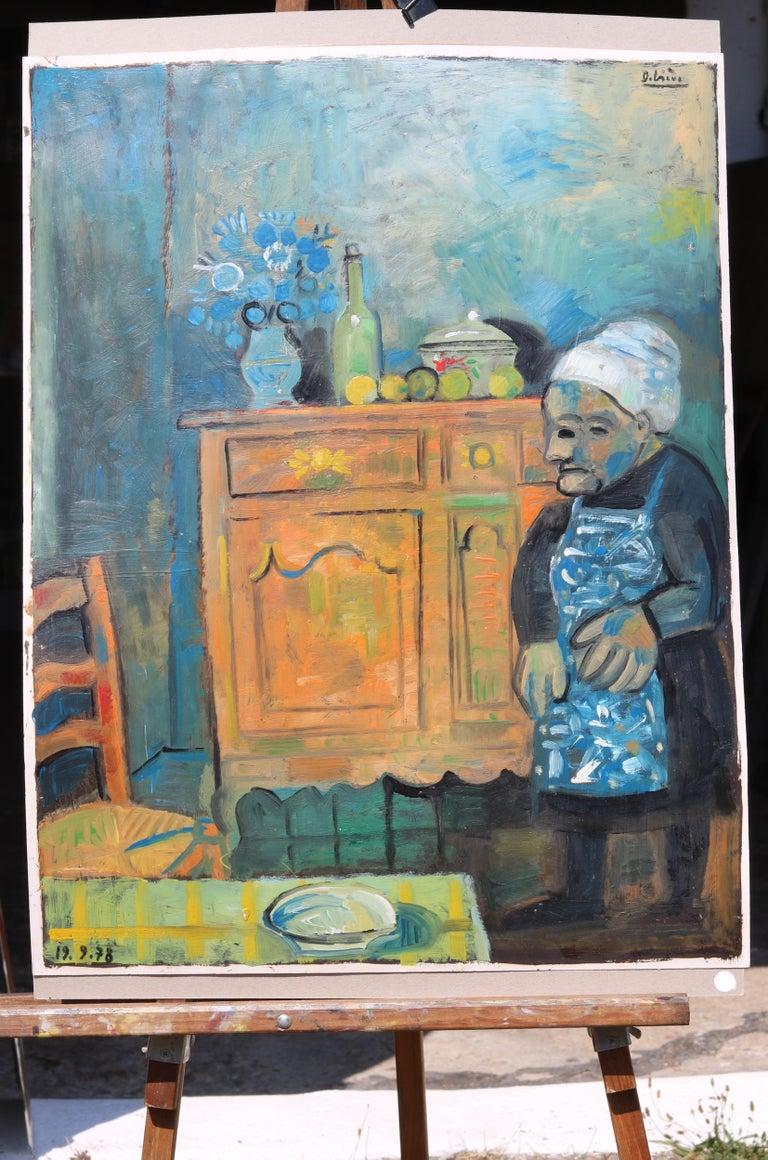 The buffet, unique piece, oil paint on paper, 1978 For Sale 3