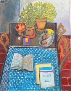 Fruits and books on a plaid tablecloth, unique piece, oil paint on paper, 1989