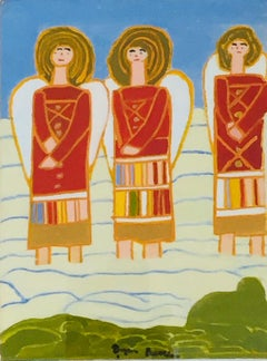 Three Angels, figurative, oil on board, 1963, by Bryan Pearce, Archive No.BP6328