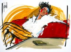 Apres la lecture, figurative, relax red sofa, acrylic on canvas, by David Jamin