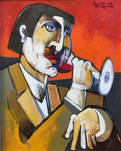 Red wine by Geoffrey Key, contemporary oil painting