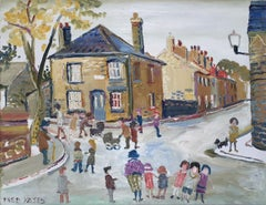Day out, Cambridge, naive, figurative oil painting by Fred Yates, c. 1985
