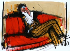 Délectation, figurative, relaxing on red sofa, acrylic on canvas, by David Jamin