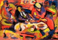 """""""POP'S NIGHT, 1954"""", American Modernist Painting, Chicago, Oil on Board"""