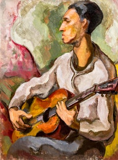 """Otto Rainer Niebuhr, """"The Guitarist"""", 1949, Vintage Expressionist Oil Painting"""