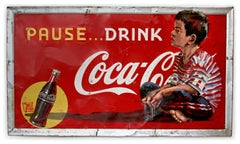 Boy on Vintage 1930's Coca-Cola Sign by Ernest Zacharevic
