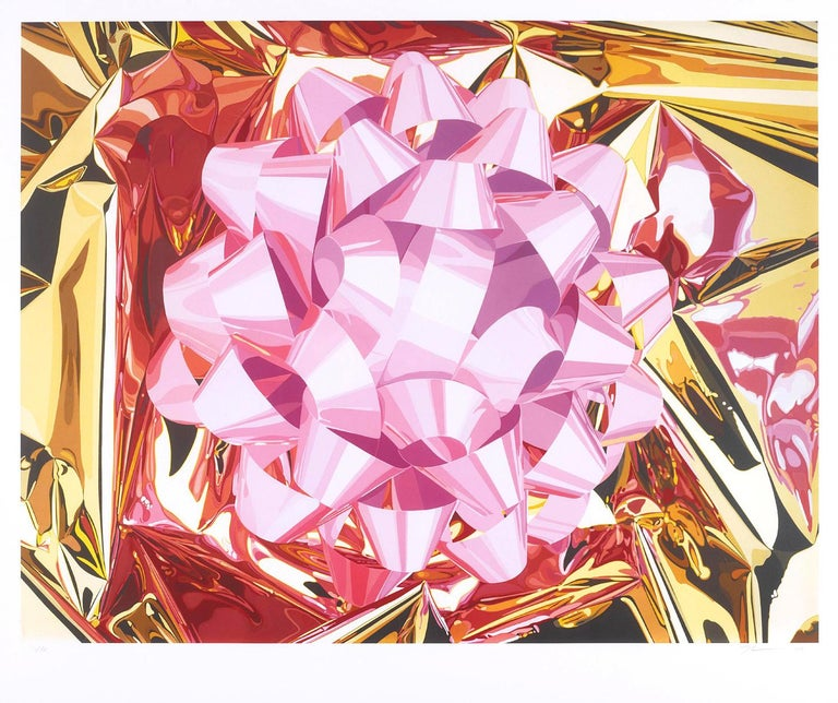 Jeff Koons magnificent Pink Bow from the Celebration Series. Executed as Pigment Print in Colours On Japanese Watercolour Paper With Full Margins.