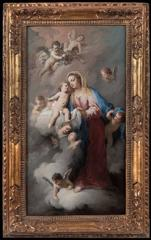 Madonna and Child with Angels in the Clouds