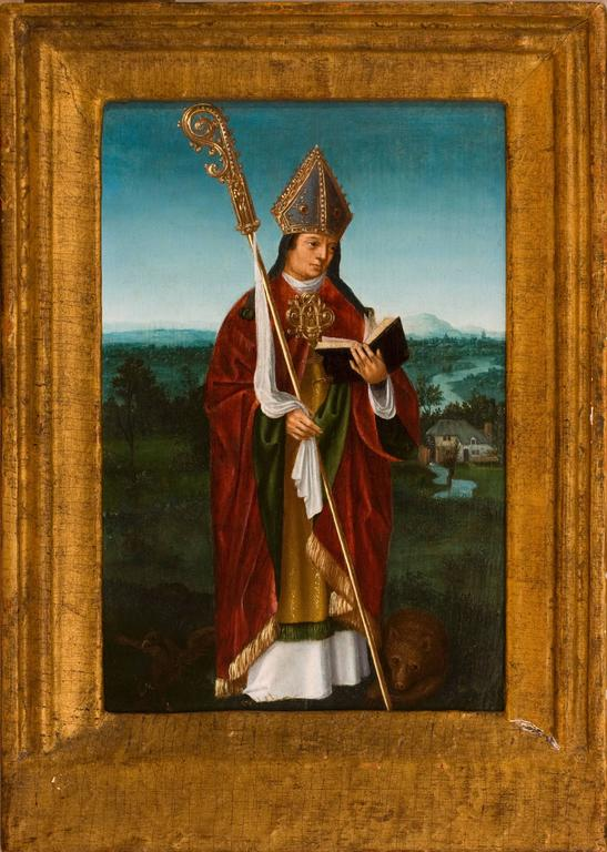 Unknown Portrait Painting - St. Ghislain in a Landscape