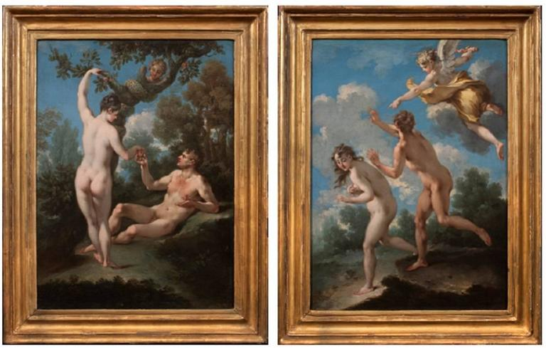 Michele Rocca Figurative Painting - The Temptation of Adam and Eve & The Expulsion from Paradise (a Pair)