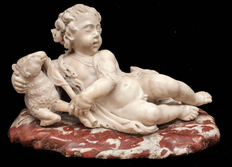 Unknown Figurative Sculpture - The Infant St. John the Baptist with a Lamb