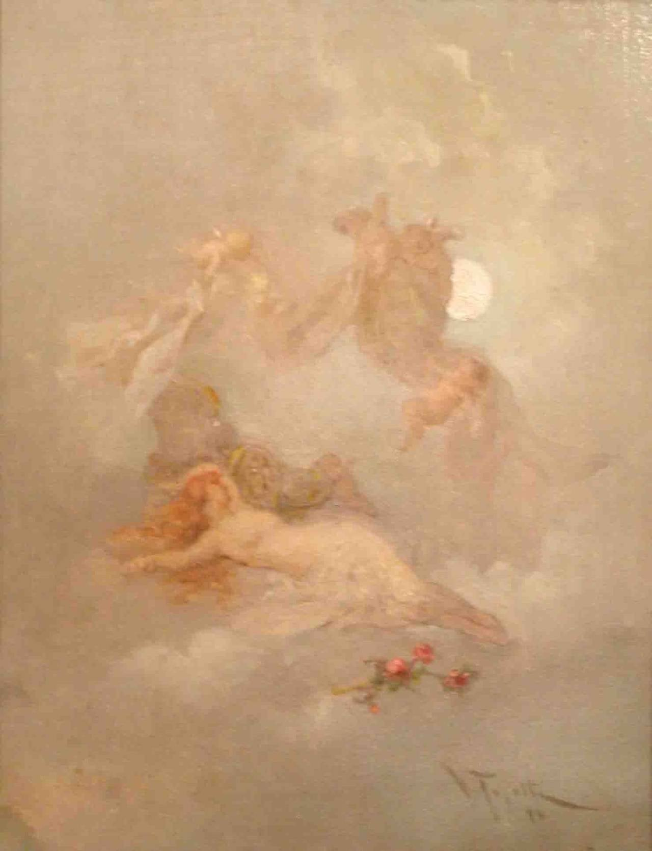 Virgilio Tojetti Allegory of Night Painting at 1stdibs