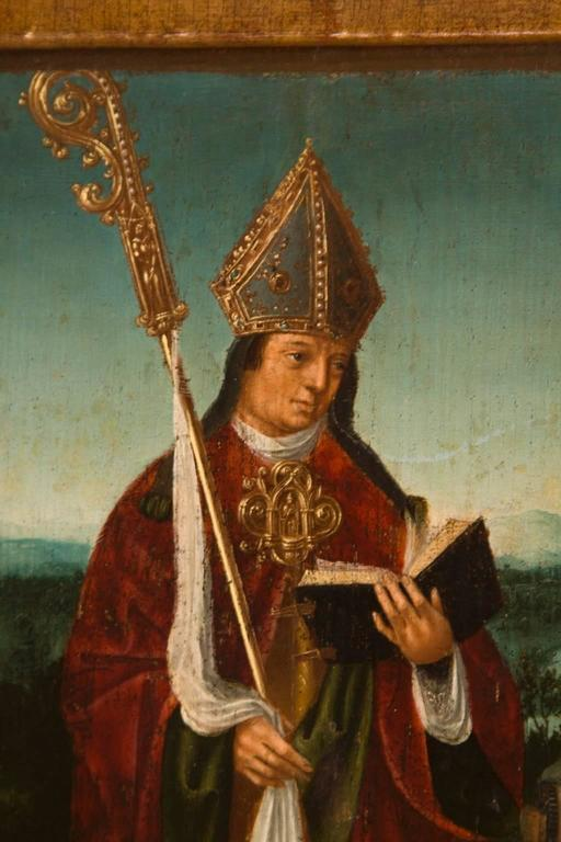 St. Ghislain in a Landscape - Brown Portrait Painting by Unknown