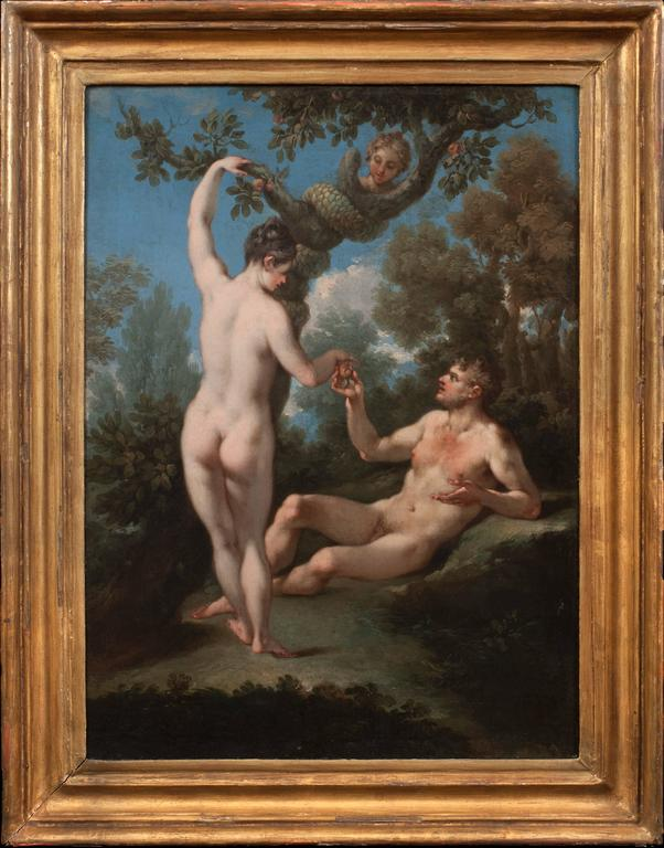 The Temptation of Adam and Eve & The Expulsion from Paradise (a Pair) - Painting by Michele Rocca