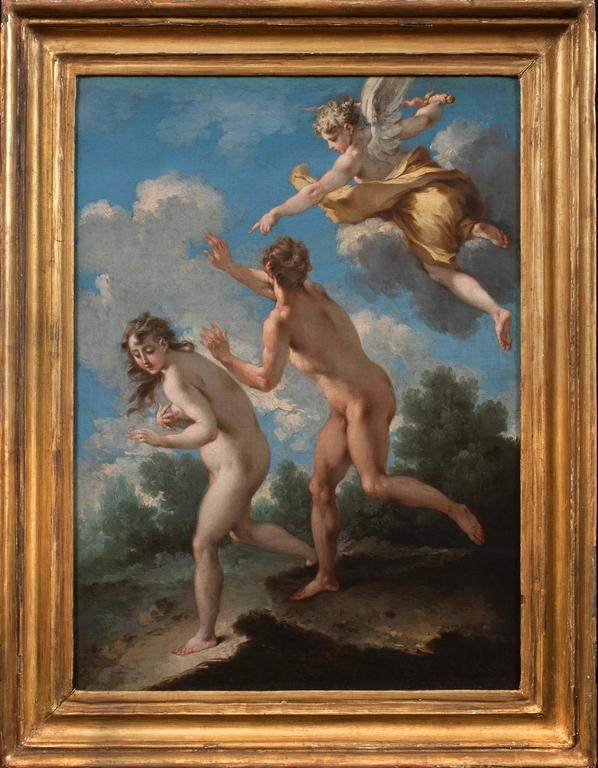 The Temptation of Adam and Eve & The Expulsion from Paradise (a Pair) - Old Masters Painting by Michele Rocca