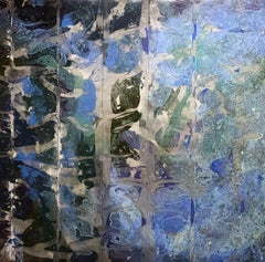 Tidal 4848-3, abstract mixed media, acrylic on steel mesh, blues and silvers