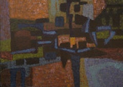 Silent Landscape, framed 1953 abstract in deep saturated textural color