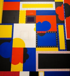California Rock, 1972 framed geometric abstract aerial view in primary colors